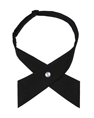 Levao Solid Color Criss-Cross Tie, Girls' School Uniform Cross Adjustable Bowtie PB306-G Black