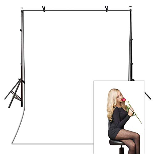 Muslin Background Solid White Color - White Polyester Fabric Backdrop Solid Color Screen for Photo Video Studio Wrinkle Resistant Background for Photography 5x7ft YouTube Props VVM001