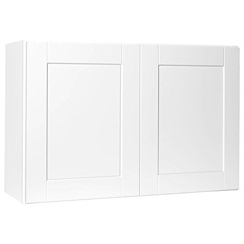 Hampton Bay Shaker Assembled 36x24x24 in. Above Refrigerator Deep Wall Bridge Kitchen Cabinet in Satin White ()