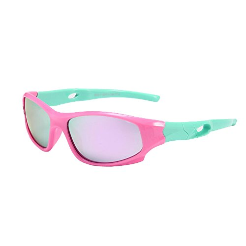 Pro Acme TR90 Unbreakable Polarized Sports Sunglasses for Kids Boys and Girls (Green/Pink Mirror)