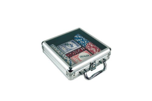 - Poker Chip Set in Acrylic Lid Aluminum Case (100 Piece)
