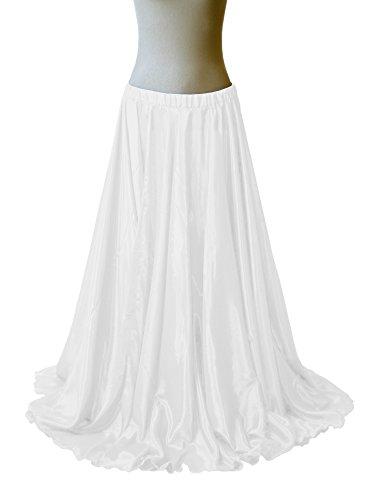 ng Satin Belly Dance Full Circle Skirt Swing Jupe Rock (One Size, White) ()