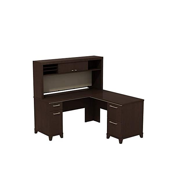 Bush Business Furniture Enterprise 60W x 60D L-Desk with Hutch in Mocha Cherry