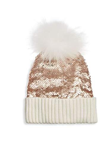 9438c587ed054a Amazon.com: Bari Lynn Reversible Sequin & Fox Fur Hat Rose Gold ...