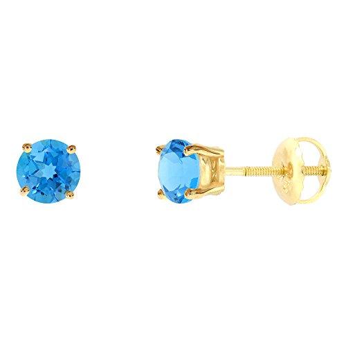 5mm 14k Yellow Gold Natural Swiss Blue Topaz Stud Earrings Screw Back Round 0.5 carat - Topaz Blue Screw