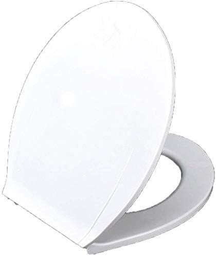 IAIZI 浴室用緩衝パッド抗菌付き便座Oシェイプ便蓋スロー閉じるウルトラ耐性トップマウント便座カバー、ホワイト-43 * 35センチメートル