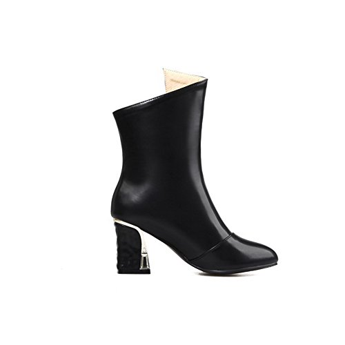 Mid AmoonyFashion Soft PU toe Materials Solid Closed Women's Pointed top Black Boots q4qgw8C