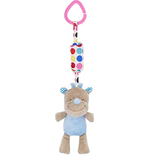 AMOFINY Toys Animal Wind Chime Bed Bell Plush Toy Newborn Soft Baby Teddy Bear Puppet Toy Gift Snuggle Baby Comforter Blanket ()