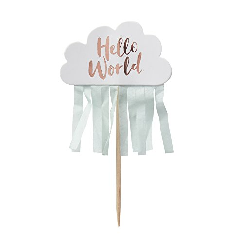 Ginger Ray Rose Gold Cloud Hello World Baby Shower Tassel Cupcake Pick Toppers x 10 - Hello World