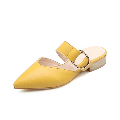 Tiwcer 2019 Pointed Toe Yellow offwhite Woman Outside Slippers Slides with Metal Ring Women Casual Sandals,Yellow,6.5 (Best Jokes In Tamil)