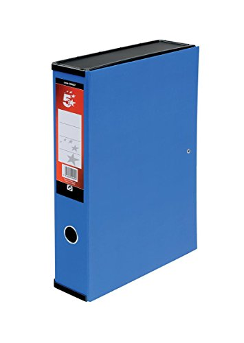 5 Star Office Box File Lock Spring with Ring Pull and Catch 75mm Spine Foolscap Blue [Pack 5] ()