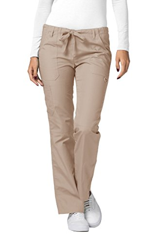 Adar Universal Womens Low-Rise Multipocket Drawstring Straight Leg Pants - 510 - Khaki - M (Iguana Scrub Pants Women)