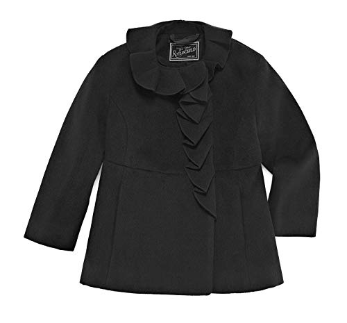 (Rothschild 2T Little Girls Dress Coat with Ruffle Collar and Washable Wool Black)