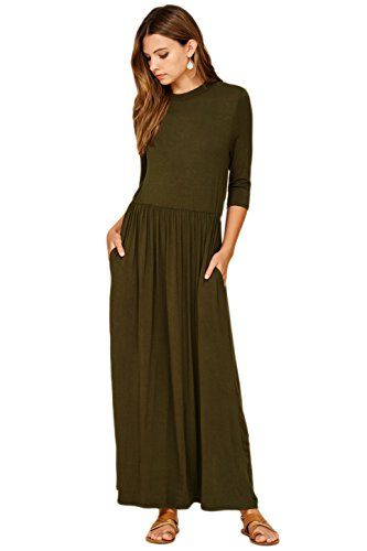 Annabelle Women's 3/4 Sleeve Long Maxi Dresses with Side Pockets Plus Size 2X-Large Olive ()