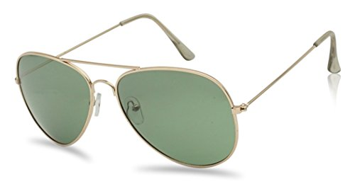 SunglassUP 53mm Polarized Top Gun Aviator Sunglasses - Unisex (Gold | Green Lens, 63) -