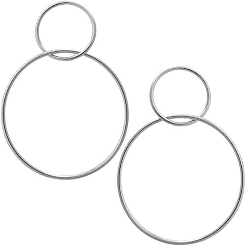 (Humble Chic Statement Hoop Earrings for Women - Double Big Round Drop Dangles Loops Long Post Ear Studs Hoops, Double Drop 925 White, Sterling Silver-Electroplated)