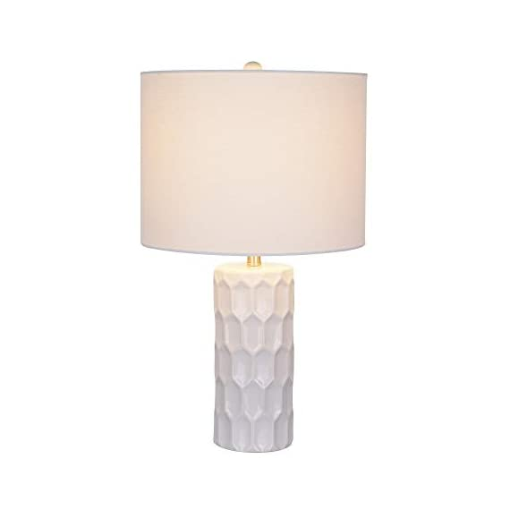 Amazon Brand – Ravenna Home Mid Century Modern White Ceramic Table Lamp With LED Light Bulb - 21 Inches, White Shade - Narrow base with wide squared shade is an eye-catching accent to mid-century and modern décor Textured ceramic base; white linen shade, brushed nickel hardware LED bulb included - lamps, bedroom-decor, bedroom - 31T%2BI4GdrBL. SS570  -