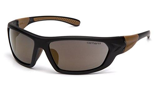 Carhartt CHB290D Carbondale SAFETY Glasses, Black/Tan Frame, Antique Mirror Lens