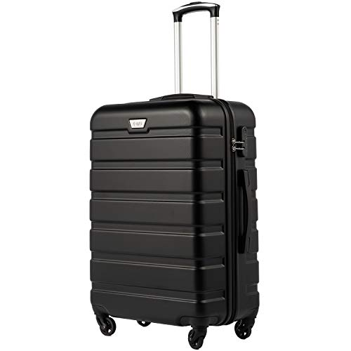 COOLIFE Suitcase Trolley Carry On Hand Cabin Luggage Hard Shell Travel Bag Lightweight 2 Year Warranty Durable 4 Spinner Wheels(Black, S(56cm 30L))