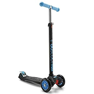GoScoot Max, 3 Wheel Kick Scooter for Kids Aged 3+ by New Bounce|Portable Outdoor Toy with Adjustable Height for Toddlers and Older Children|Deluxe Design for Girls & Boys in Pink, Blue, Red (Blue)