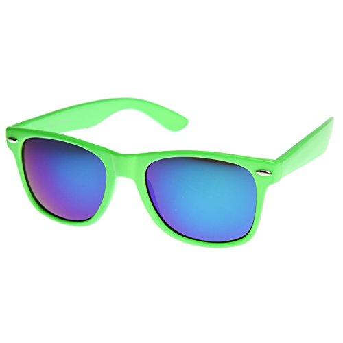 zeroUV - Retro Bright Horn Rimmed Sunglasses with Colorful Mirrored Lenses - UV400 - Green Sunglasses Bright