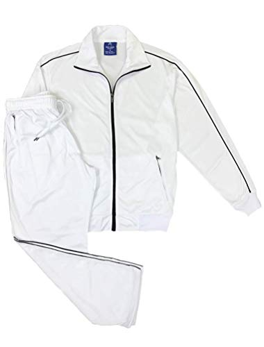 Men Classic Activewear Spring TrackJacket Trackpants Tracksuit Outfit (White, L) ()