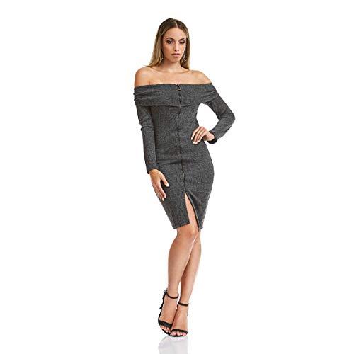 Vestido Acostamento Feminino Casual Preto
