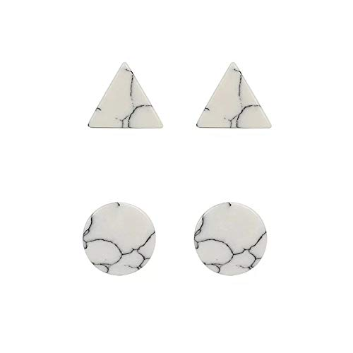 2 Pairs Fashion Round Shape Marble Stone Push Back Stud Earrings Set Jewelry for Women (Set stud earrings white stone,silver round+tringle)