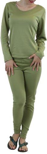 ToBeInStyle Women's Pajama Fleece Long Sleeve Thermal Set w/ Ankle Long Sweatpants - XX-Large - Pastel Green
