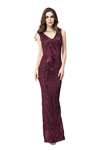 Matouyigui Women's Elegant Golde Evening Party Dress (XL, Red)