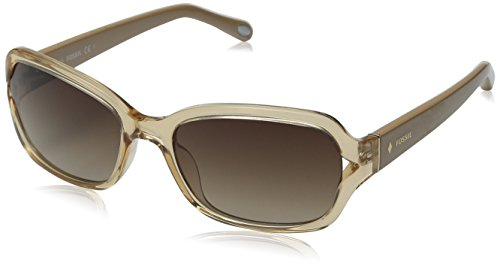 Fossil Women's FOS3021S Rectangular Sunglasses, Nude Crystal, 55 - Sunglasses Womens Fossil