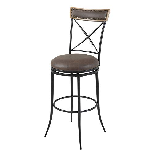 (Leggett & Platt Boise Swivel Seat Bar Stool with Charcoal Finished Metal Frame, Wood Stain Seatback and Cocoa Faux Leather Upholstery, 30-Inch Seat Height)