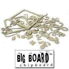Fancy Pants Big Board Chipboard 6 Inch by 6 Inch Sheet, Scrolls