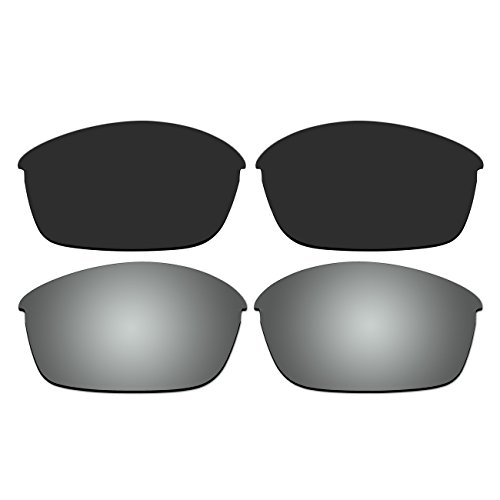 ACOMPATIBLE Replacement Polarized Black and Titanium Lenses for Oakley Flak Jacket Sunglasses