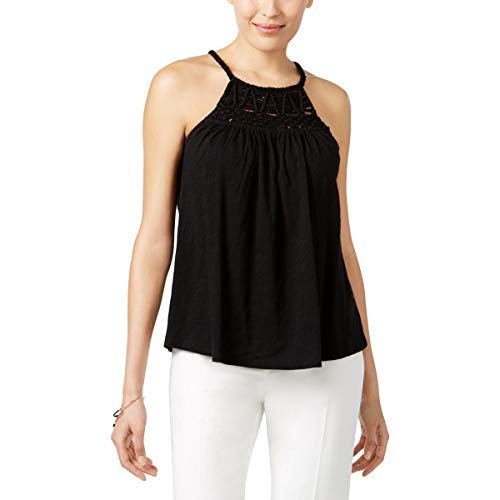Cable & Gauge Womens Knit Embroidered Blouse Black XL
