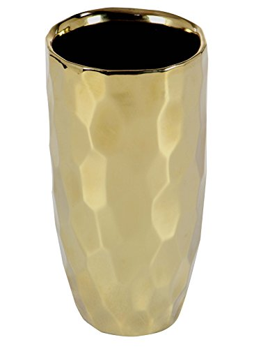 lated Textured Ceramic Vase, Gold/Black (Ceramic Textured Vases)