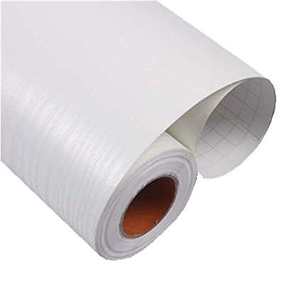 Teemall Vintage White Wood Panel Pattern Peel & Stick Backsplash Contact Paper Self-Adhesive Removable Wallpaper 24''x79''
