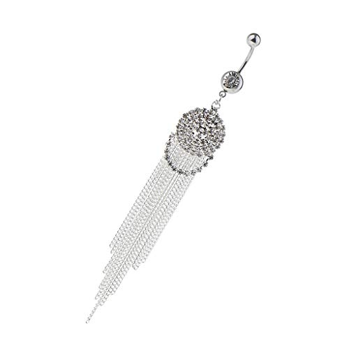 (Cute Fashion Stainless Steel Crystal Belly Button Ring Sun Round Shape (Color - Sliver))
