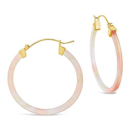 Sterling Forever - 50mm Resin Hoop Earrings (in multiple styles) (Sorbet) (Is Made Resin From What)