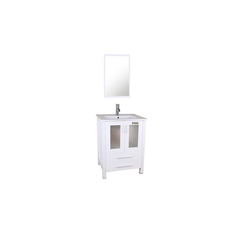 """eclife 24"""" Bathroom Vanity Sink Combo with Overflow White Drop in Ceramic Sink Top & White MDF Modern Bathroom Cabinet & Chrome Solid Brass Faucet and Pop Up Drain with Mirror A08B03W"""