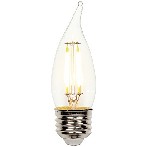 Westinghouse Lighting 0317100 5W (40W) Decorative CA10 Flame Tip Dimmable Warm White Filament LED Light Bulb with Medium Base