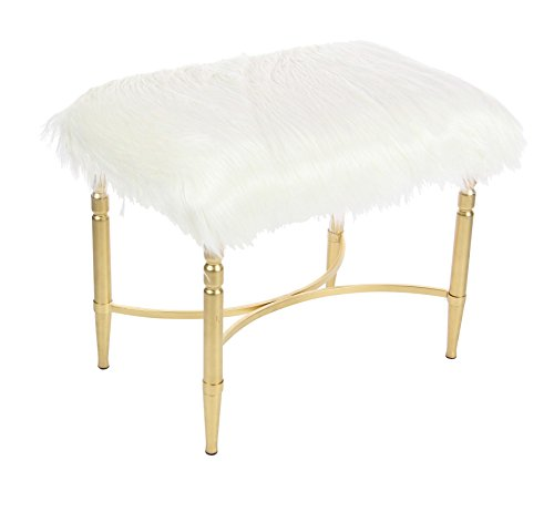 Deco 79  Stool, White/Gold (Furry Stool Vanity)
