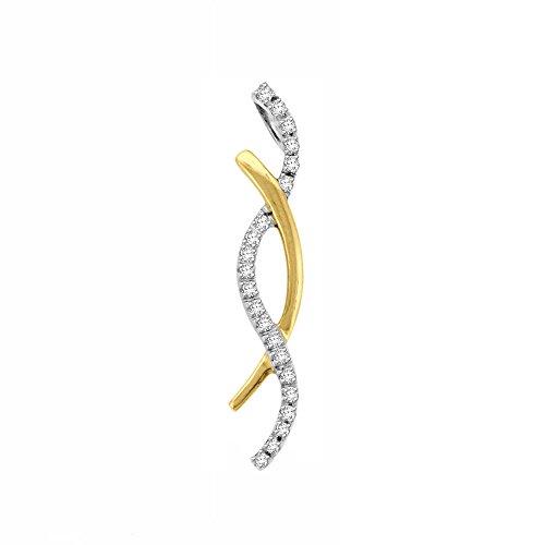 Or Jaune 14 ct Pendentifs Diamant , 0.16 Ct Diamant, GH-SI, 1.14 grammes.