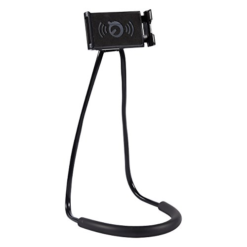 Flexible Phone Holder with Rotating Mount - Lazy Bracket - Versatile Hands-Free Phone Use - Hangs Over Neck - Fits Smartphones with Screens from 4 to 6.3 Inches, Black