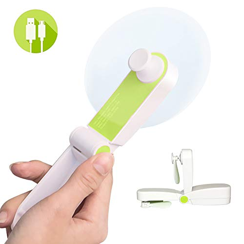 Jomilly Mini Handheld Personal Fans, Small Portable Pocket Little Fan for Home Office Hiking Travelling, USB Rechargeable, Two Modes, Soft TPE Material, Green.