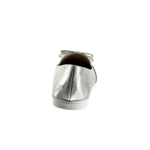 Angkorly - Scarpe da Moda Mocassini slip-on donna nodo perforato verniciato Tacco tacco piatto 1.5 CM - Argento