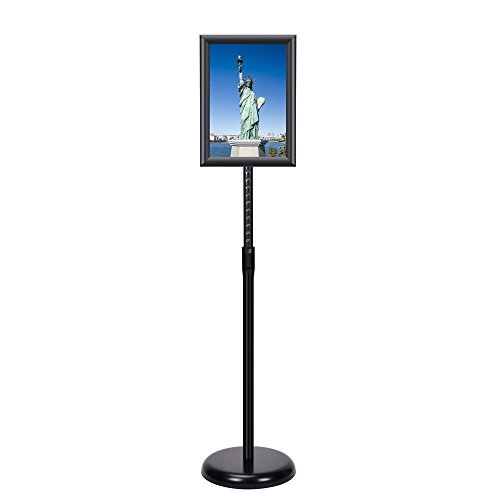 Smonet Adjustable Pedestal Sign Holder Floor Stand with Telescoping Post, Poster Frame for 8 X 11 Inches Graphics, Top-loading Vertical Design-Black Metal