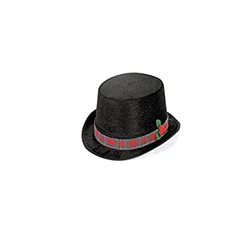 polyester christmas caroler top hat one size black 2 pack