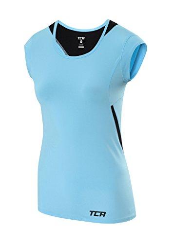 TCA Women's Tech Lightweight Cap Sleeve Running Top - Air Blue (Womens Cap Sleeve Running Top)