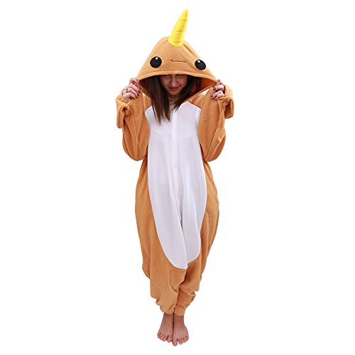 Animal Oneise Narwhal Pajamas - Plush One Piece Costume (X-Large, Yellow) -
